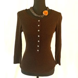 Free People Chocolate Brown Henley Sweater Size M